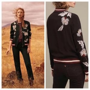 Anthropologie Embroidered Solstice Bomber Size L